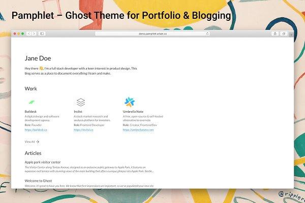 Portfolio & Blogging Ghost Theme