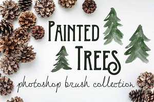Painted Pine Trees - PS Brushes