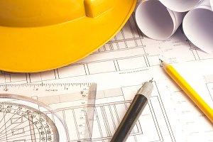 Blueprint plan with pencil