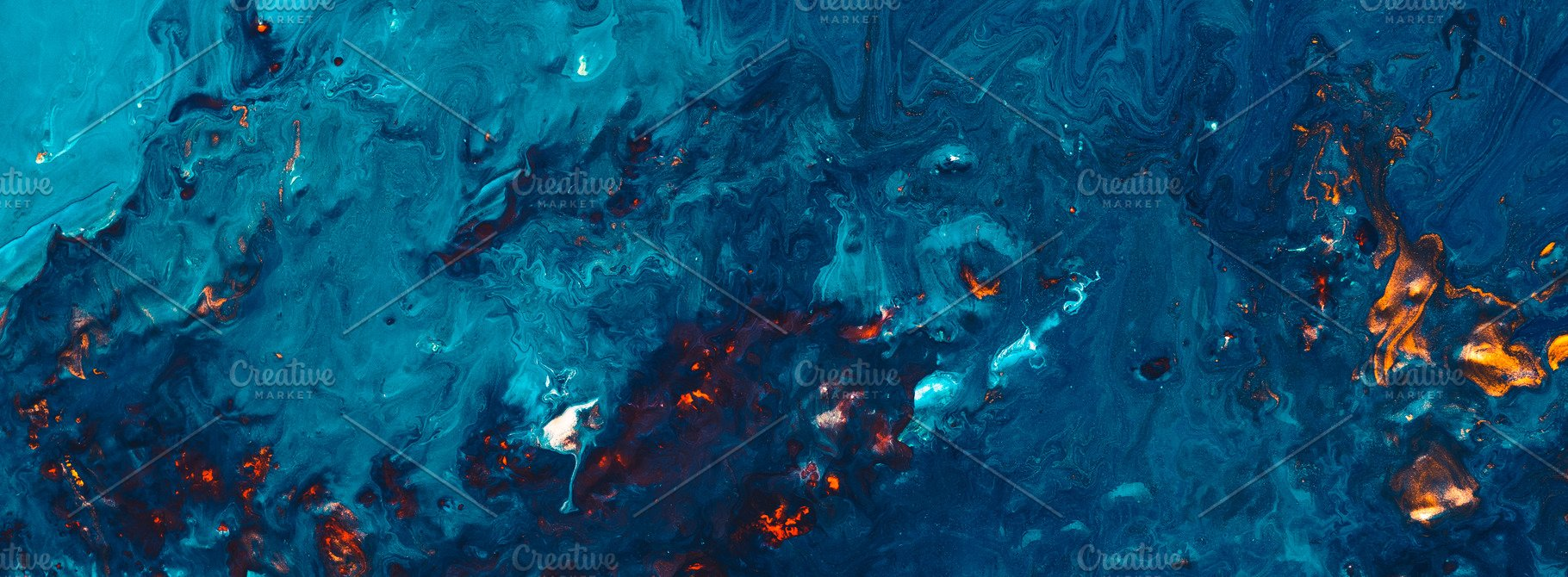 Abstract Night Forest Fire Blue