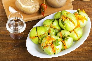 appetizer of pickled green tomatoes