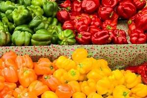 Display of colorful peppers at marke