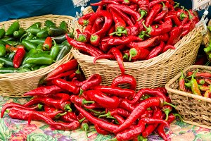 Red hot peppers in baskets