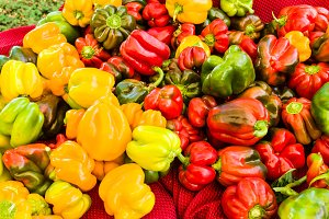 Display of colorful bell peppers