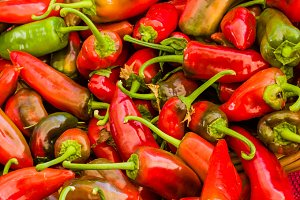 Red hot peppers at market