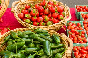 Baskets of hot peppers