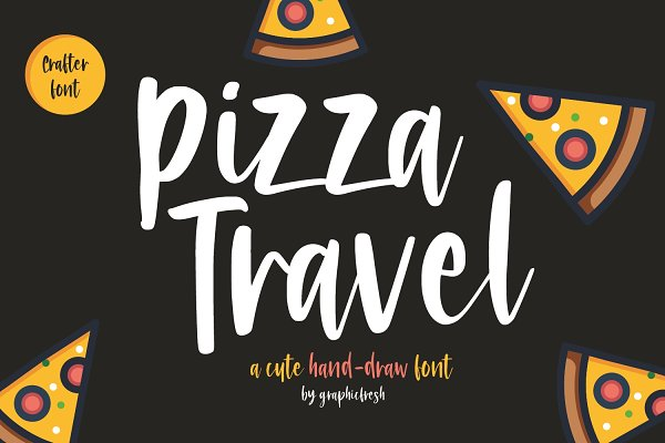Best Pizza Travel - Cute Brush Font Vector