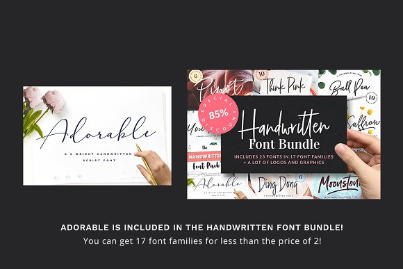 Adorable Handwritten Script Font in Handwriting Fonts - product preview 9