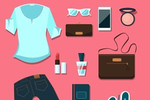Young woman clothes and accessories