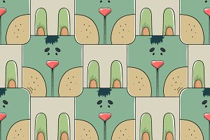Seamless pattern of a cute rabbit