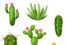 Collection of abstract cactuses.