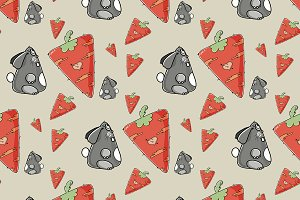 Seamless pattern the cute rabbit