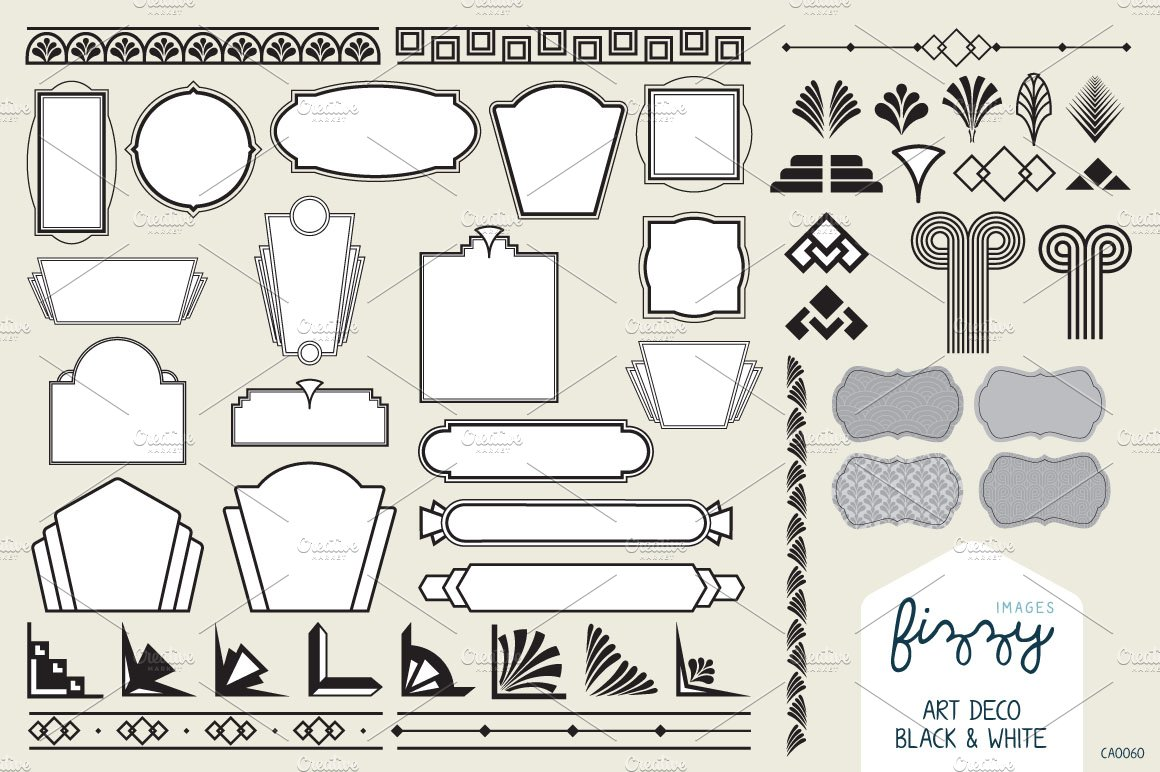 50x art deco vector elements illustrations creative market for Deco graphic
