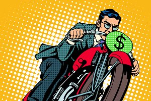 Businessman on a motorcycle