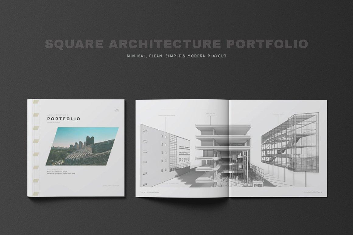 Square Architecture Portfolio   Creative InDesign Templates ...