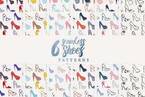 6 Seamless Shoes Pattern
