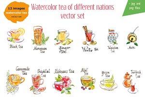 Watercolor tea vector set