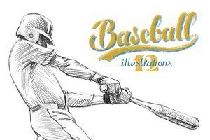 Sketchy baseball drawing set