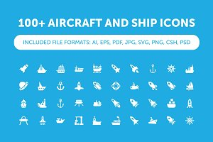 100+ Aircraft and Ship Icons