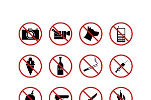 16 prohibiting signs vector icons