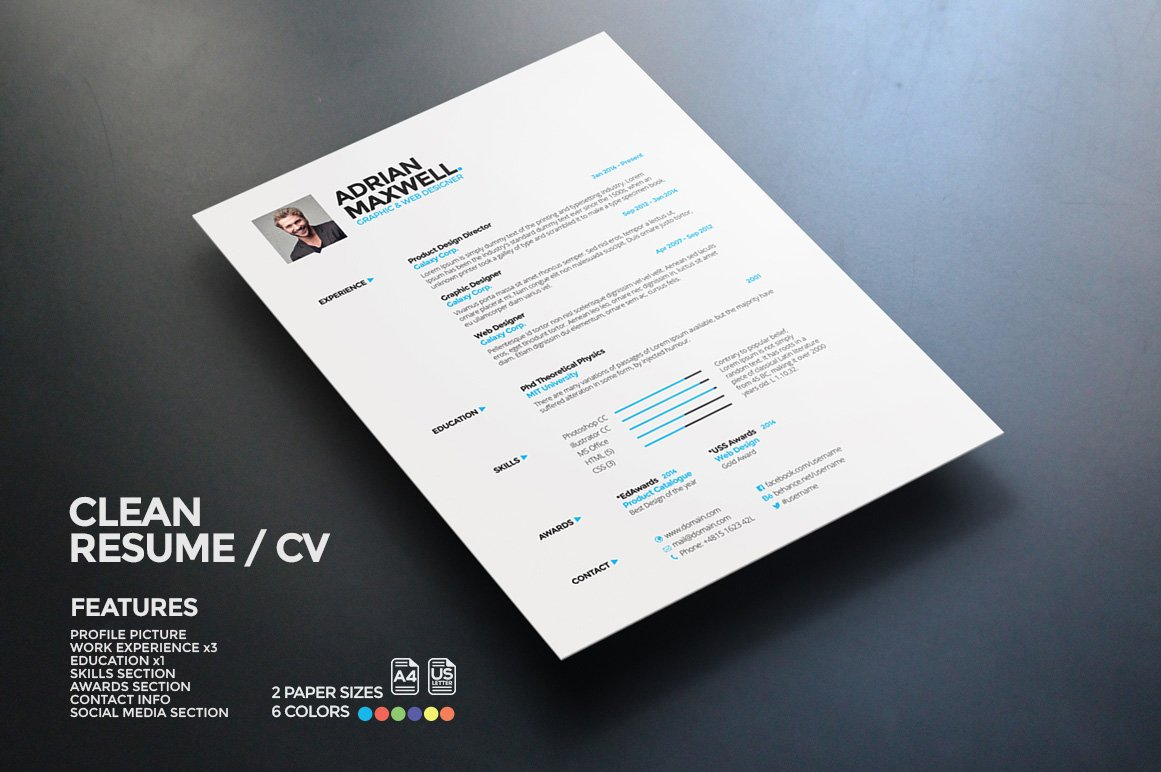 Clean Resume Resume Templates Creative Market