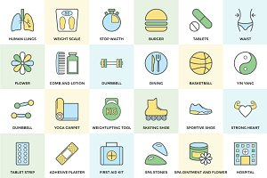 100+ Fitness and Health Icon Set