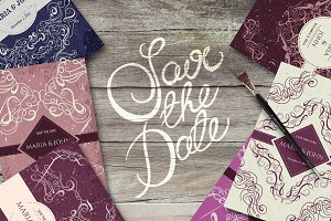 Vintage save the date invitation set
