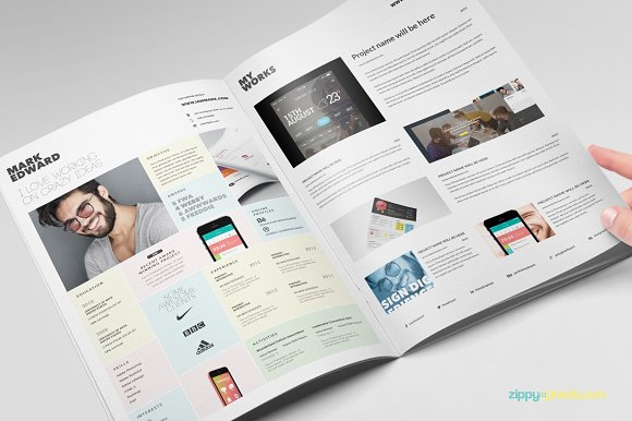 Resume CV Template in Booklet Style ~ Resume Templates ~ Creative Market