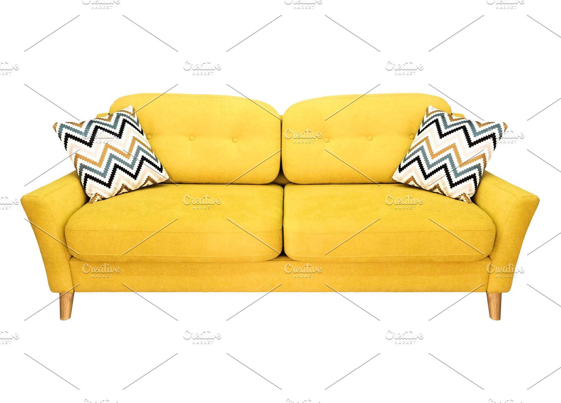 Green lemon yellow sofa with pillow.