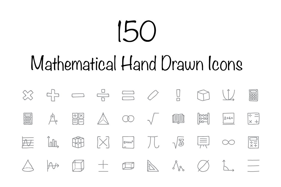Mathematical vector icons photos graphics fonts themes templates 150 mathematical hand drawn icons buycottarizona Image collections