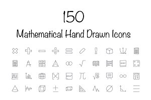 150 Mathematical Hand Drawn Icons