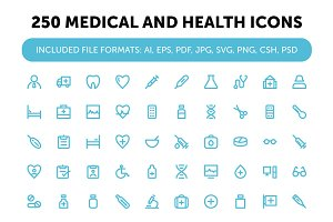 250 Medical and Health Icons