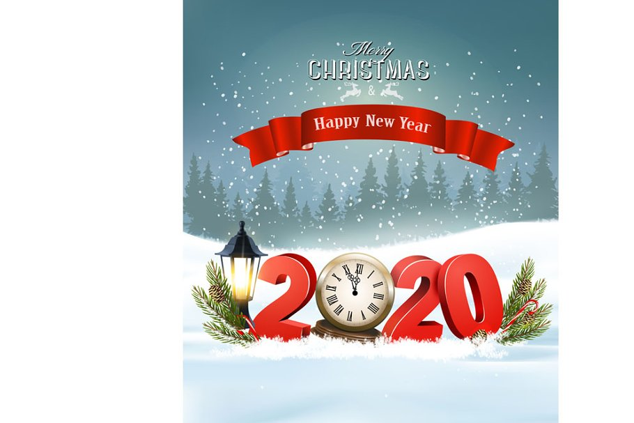 Christmas Background 2020 Merry Christmas Background with 2020   Pre Designed Illustrator