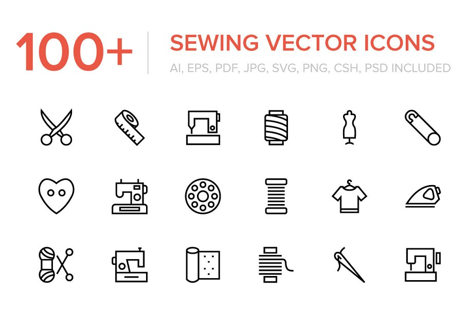 100+ Sewing and Stitching Icons