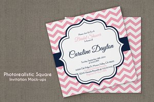 Square Invitation Card Mockup