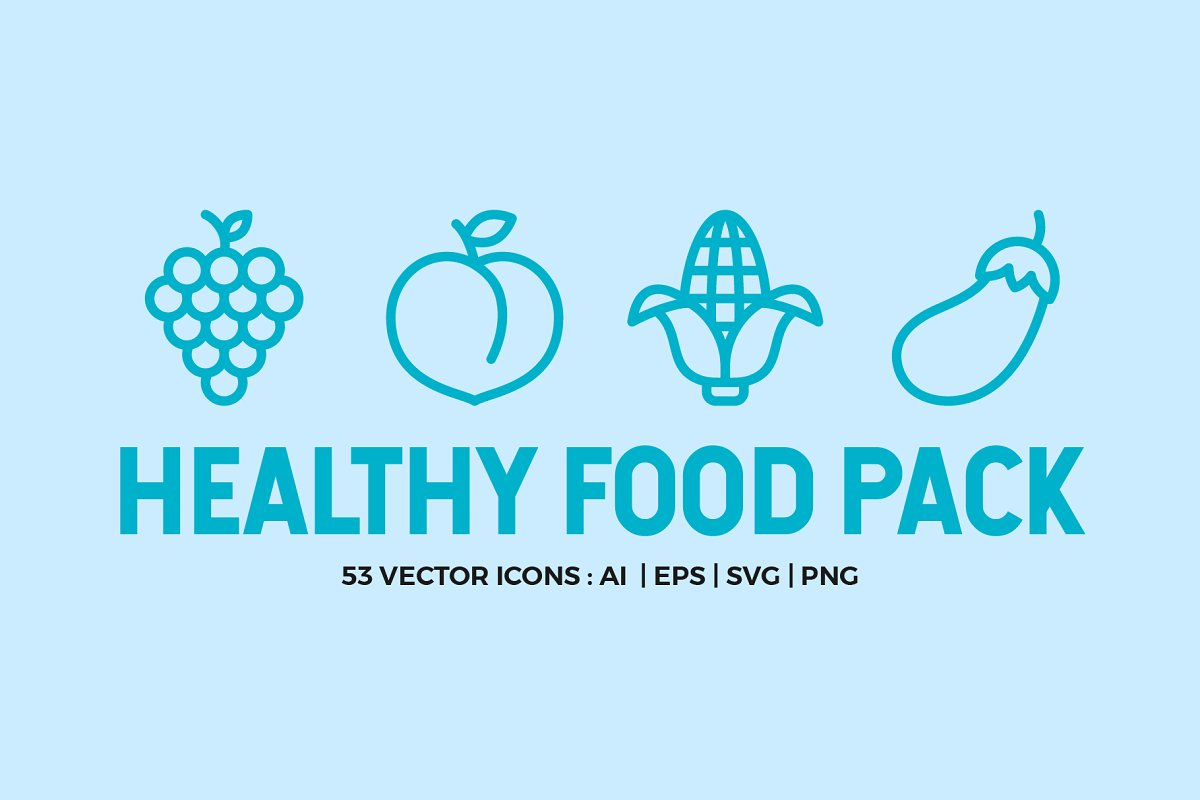Healthy Food Line Icons