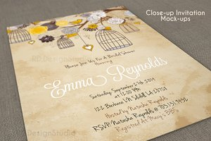 Close-up invitation card mockup