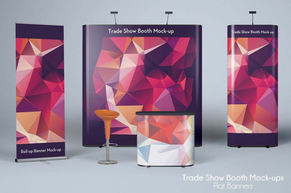 Exhibition Booth Mockup Free Download : Trade show mock up flat banners product mockups