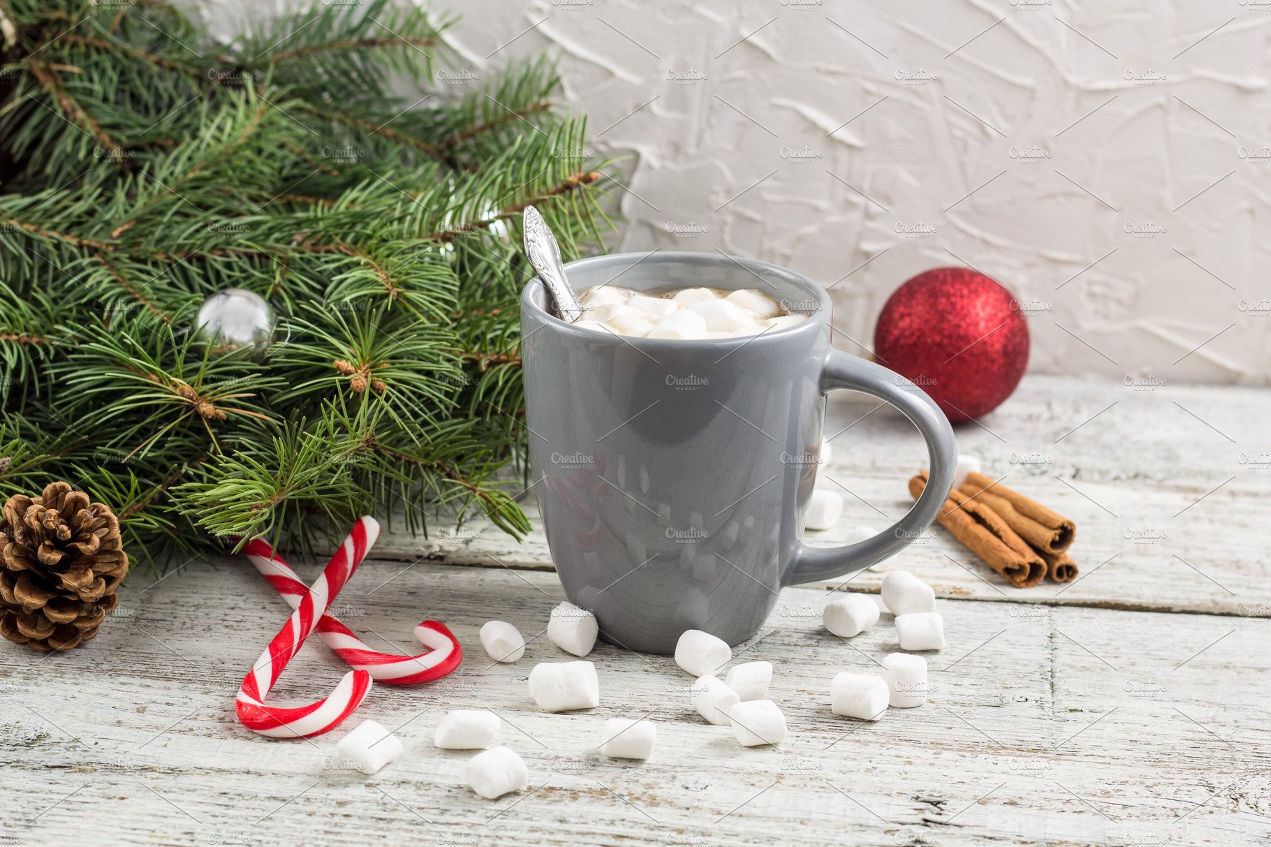 Christmas Hot Chocolate Marshmallow High Quality Food Images Creative Market