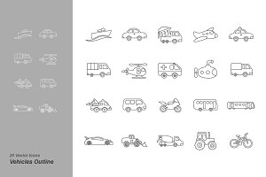 Vehicles Outline Icons