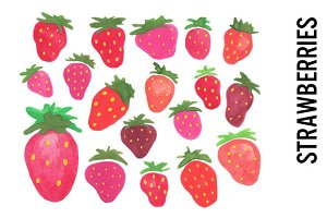 Strawberries, Watercolor Clipart
