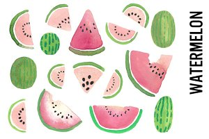 Watermelon Watercolor Clipart