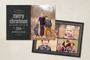 Christmas Card Template Chalkboard