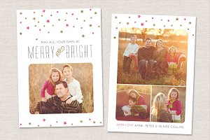 Merry & Bright Christmas Card 5x7