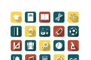 Set of colored flat education icons