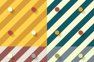 Set of four retro geometric patterns