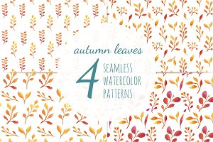 Autumn Leaves 4 Seamless Patterns