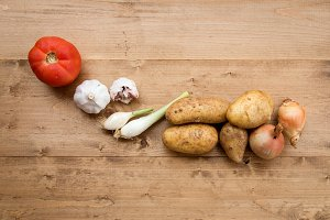 Fresh vegetables on wooden board