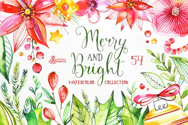 Merry And Bright. Watercolor