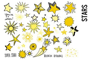 Stars Doodle Clipart, Yellow